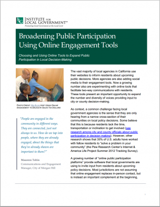 Image of Broadening Public Participation Using Online Engagement Tools
