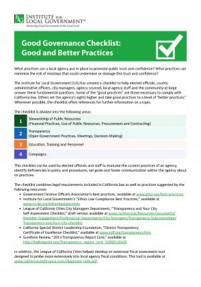 Image of Good Governance Checklist: Good and Better Practices