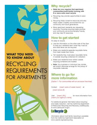 Image of English and Spanish Language Commercial Recycling Flyer Templates (2012 Update)