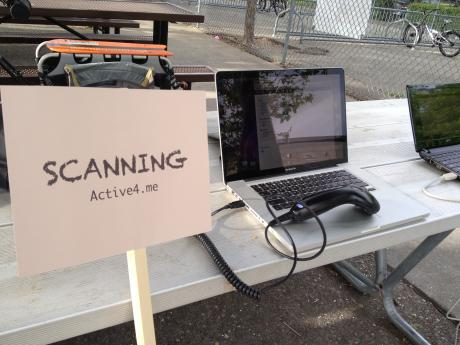 A student scanning station