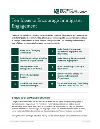 Image of Ten Ideas to Encourage Immigrant Engagement