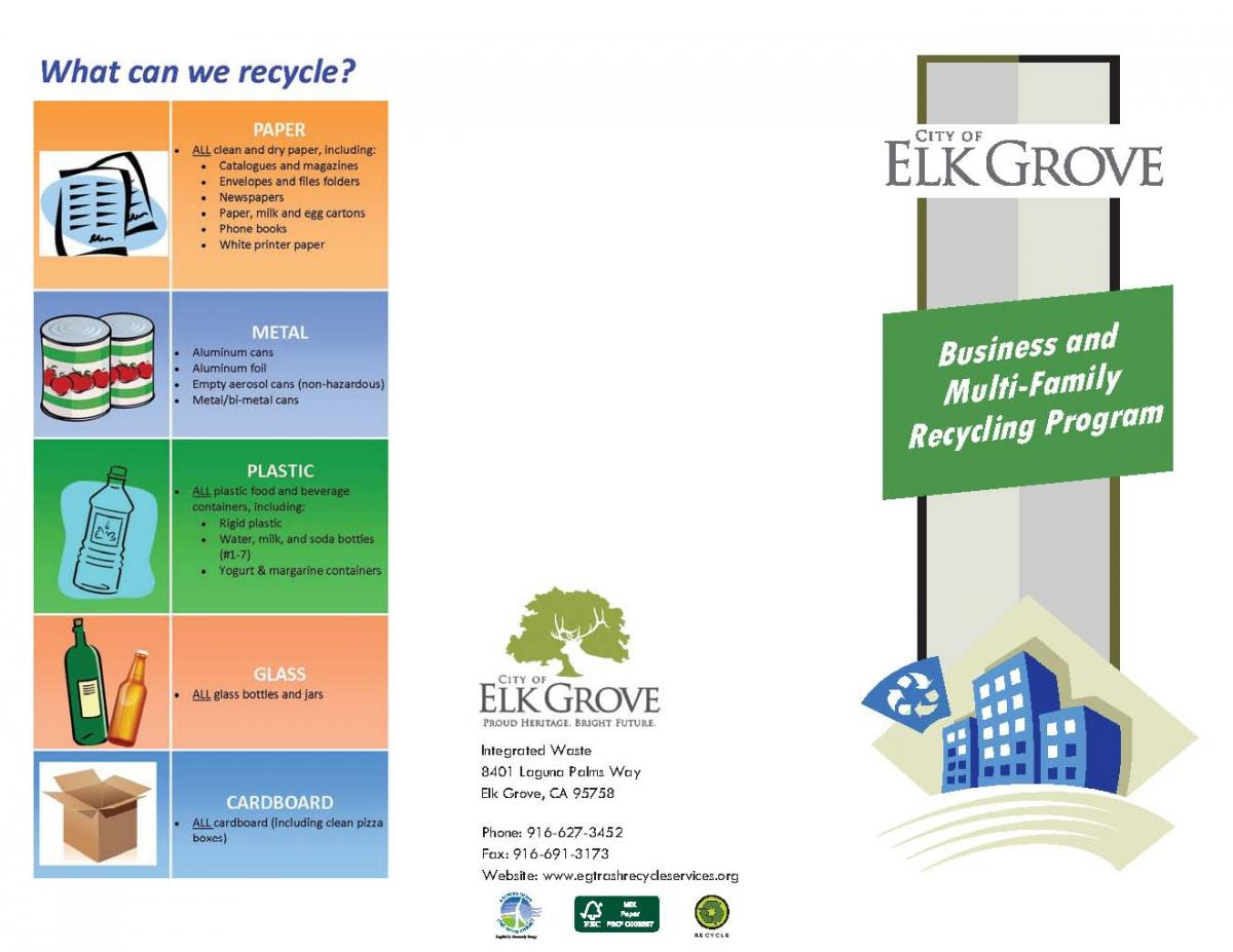 elk grove brochures and materials for two new commercial recycling
