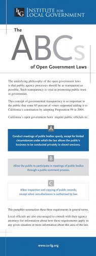 Image of Pamphlet: The ABCs of Open Government Laws