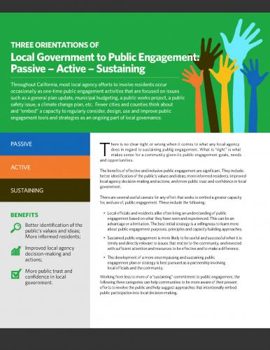Image of Three Orientations of Local Government Public Engagement: Passive – Active – Sustaining