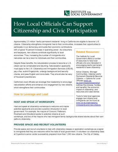 Image of How Local Officials Can Support Citizenship and Civic Participation