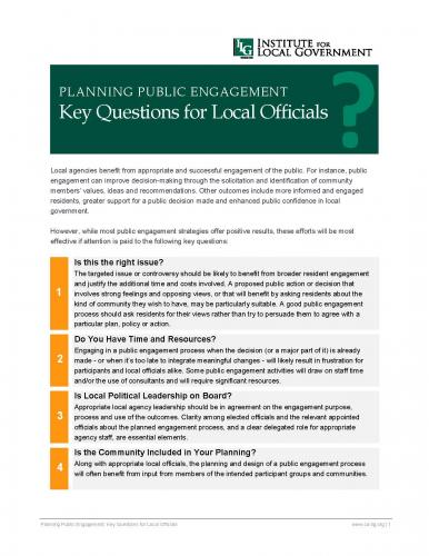 Image of Planning Public Engagement: Key Questions for Local Officials
