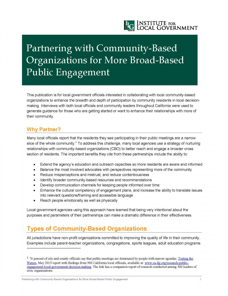 Partnering with Community-Based Organizations for More Broad