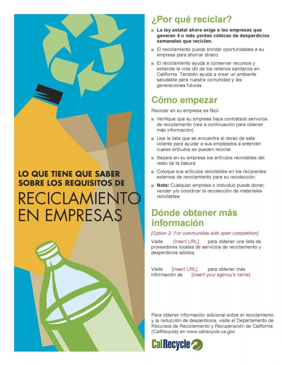 Templates For Flyers | English And Spanish Language Commercial Recycling Flyer Templates