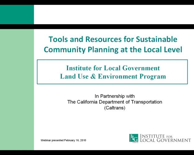 Tools and Resources for Sustainable Community Planning at the Local Level