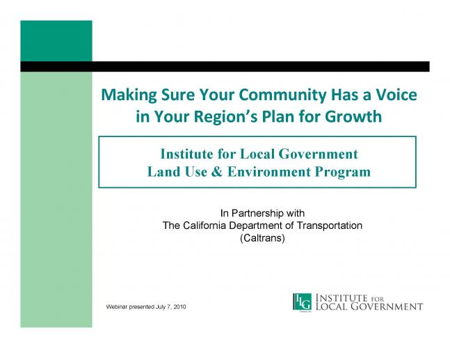 Making Sure Your Community Has a Voice in Your Region's Plan for Growth