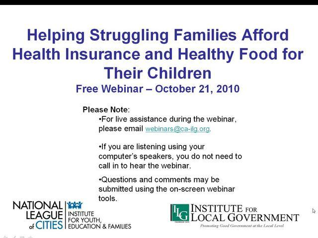 Helping Struggling Families Afford Health Insurance and Healthy Food for Their Children Webinar