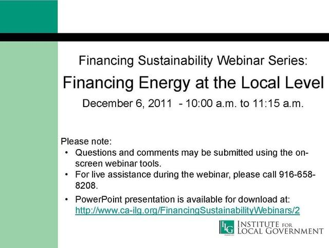 Financing Energy at the Local Level