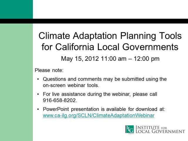 Climate Adaptation Planning Tools for California Local Governments