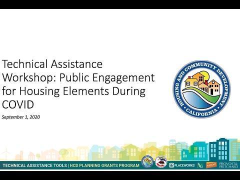 Technical Assistance Workshop: Public Engagement for Housing Elements During COVID