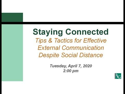 Staying Connected – Tips and Tactics for Effective External Communication Despite Social Distance