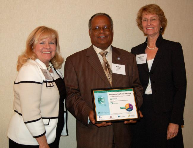 Inglewood City Council Member Ralph Franklin with Program Manager Marilyn Lyon (left) and Deputy Executive Director Catherine Showalter, South Bay Cities COG, celebrate designation as a Beacon Award Program Champion