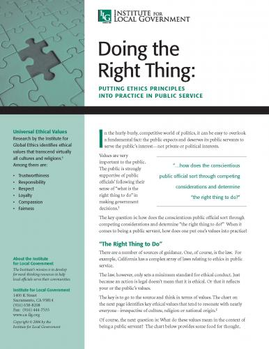 Doing the Right Thing: Putting Ethics Principles into Practice in Public Service